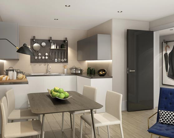 City Wharf development spec kitchens and living areas