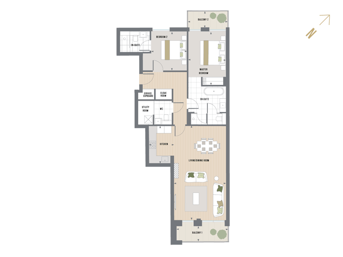 Floorplan for G.3.1 at Queen's Wharf, THIRD