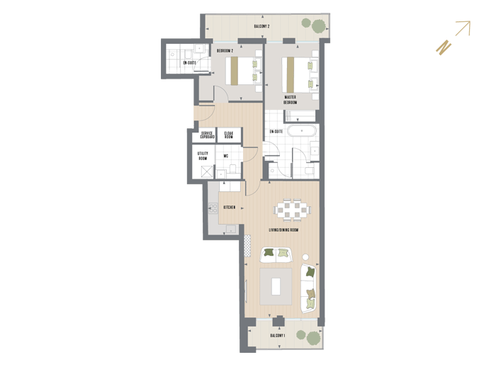 Floorplan for G.2.1 at Queen's Wharf, SECOND