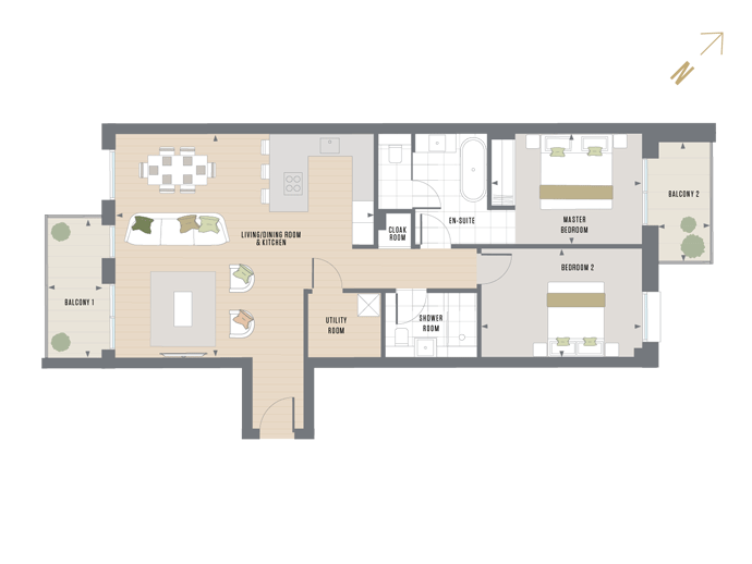 Floorplan for D.4.1 at Queen's Wharf, FOURTH