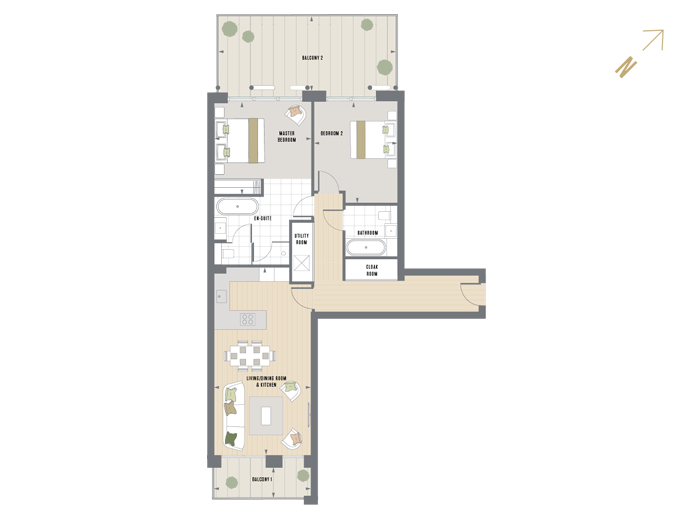 Floorplan for E.4.7 at Queen's Wharf, Fourth