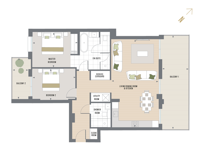 Floorplan for D.5.1 at Queen's Wharf, FIFTH