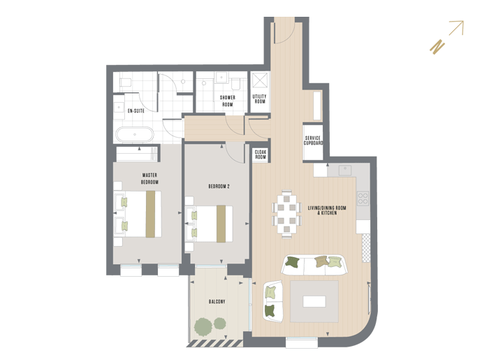 Floorplan for G.2.2 at Queen's Wharf, SECOND
