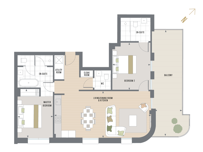 Floorplan for E.5.2 at Queen's Wharf, Fifth