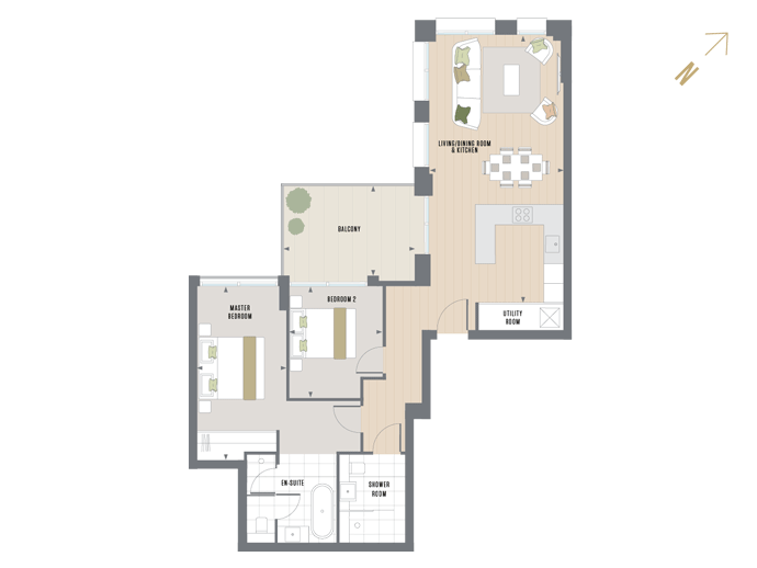 Floorplan for B.2.4 at Queen's Wharf, SECOND