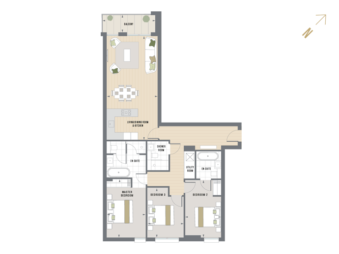 Floorplan for C.5.1 at Queen's Wharf, FIFTH