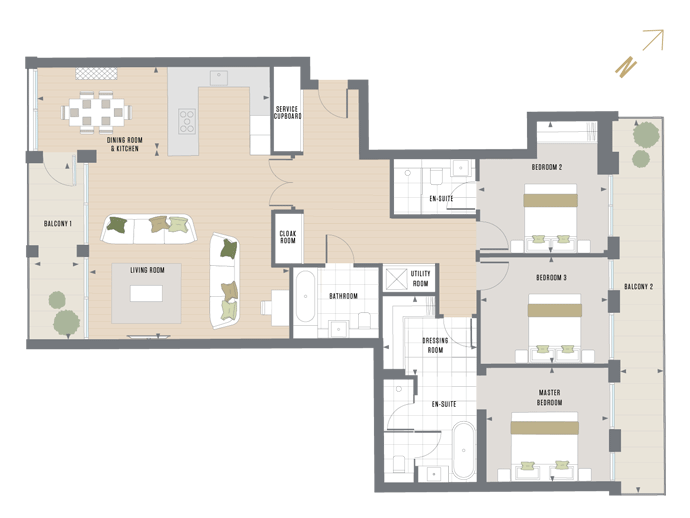 Floorplan for A.2.1 at Queen's Wharf, SECOND