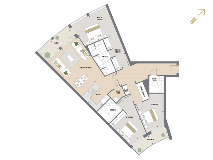 Floorplan for B.2.1 at Queen's Wharf, SECOND