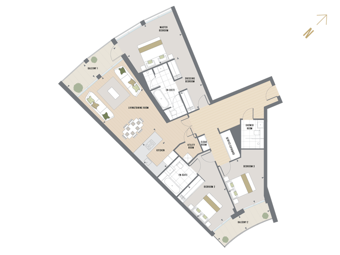 Floorplan for B.5.1 at Queen's Wharf, FIFTH