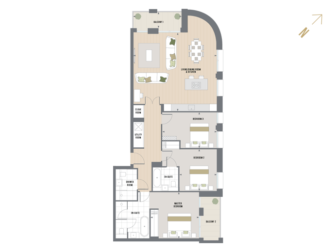 Floorplan for C.3.6 at Queen's Wharf, THIRD