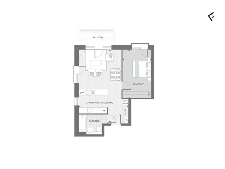 Floorplan for Apartment 201 at The Milne Building, Second