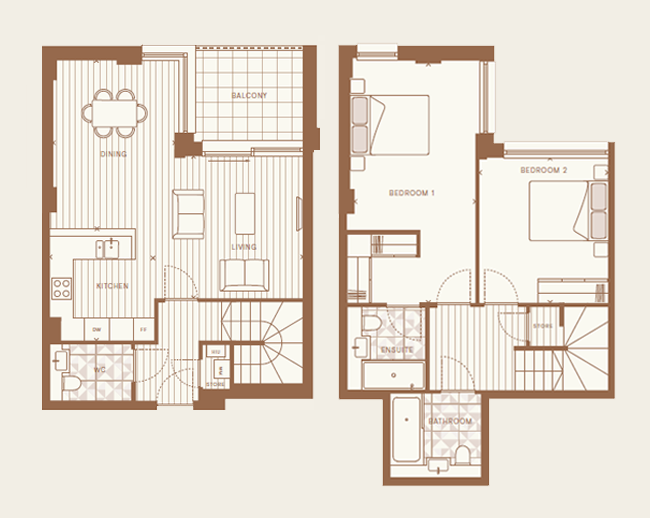 Floorplan for Plot 2.02 at Arlington Lofts, Second