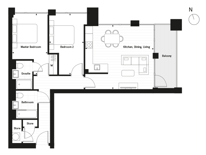 Floorplan for Plot 2.02 at Carlton House, Second
