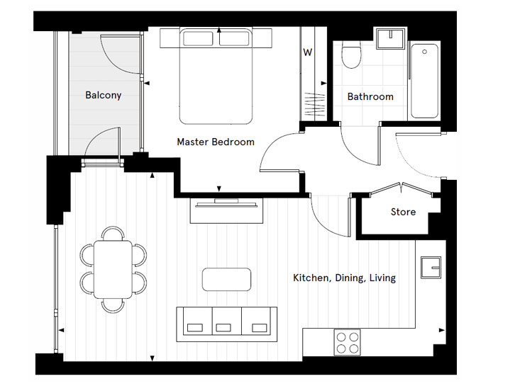 Floorplan for A2.09 at Carlton House Shared Ownership, Second
