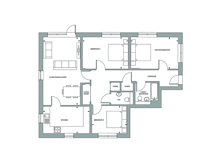 Floorplan for Plot 1 at Sylvan Lodge, Ground