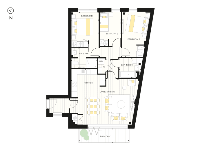 Floorplan for Apartment A07 at The Chroma Buildings, First