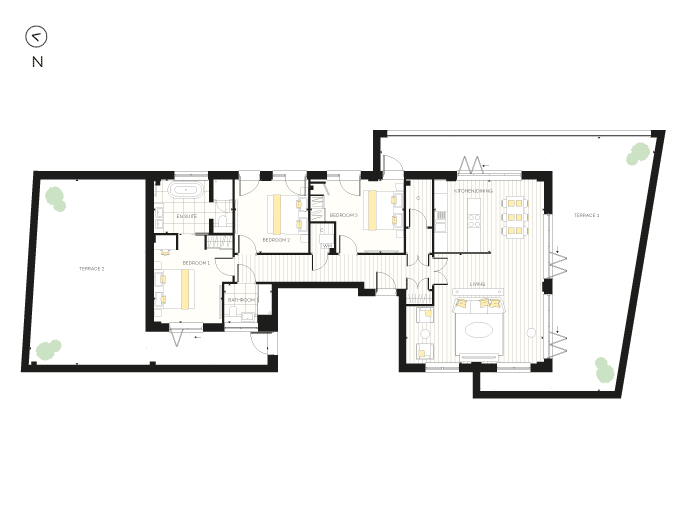 Floorplan for Apartment A15 at The Chroma Buildings, Fourth