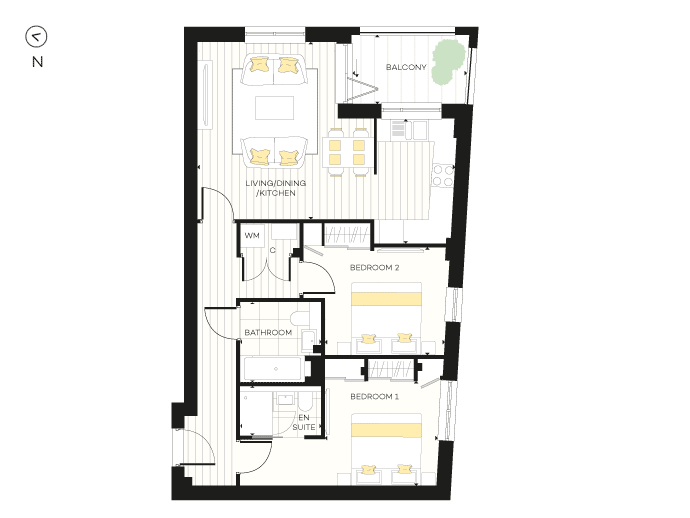 Floorplan for Apartment B09 at The Chroma Buildings, First