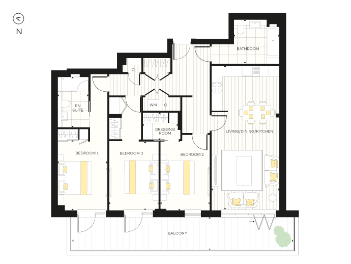 Floorplan for Apartment B11 at The Chroma Buildings, First