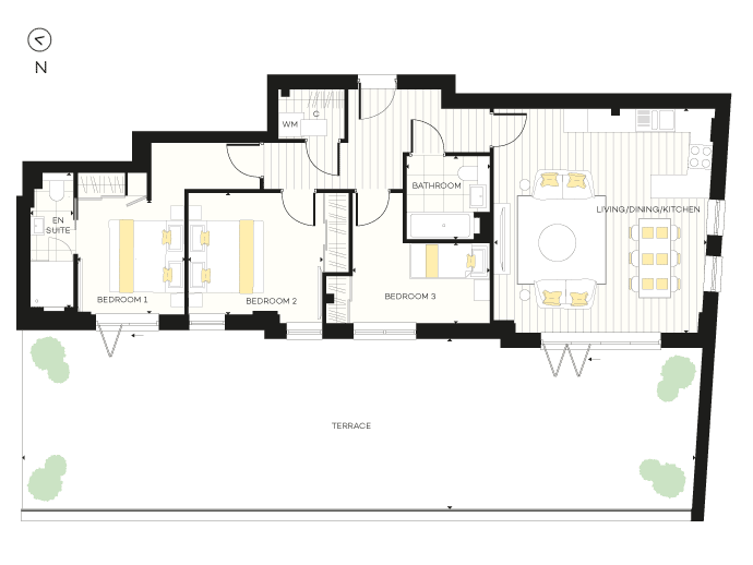 Floorplan for Apartment B17 at The Chroma Buildings, Second
